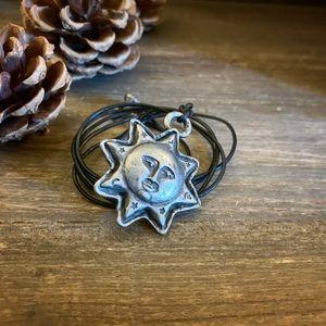 Jewelry - Pewter Celestial Sun Charm Pendant Necklace